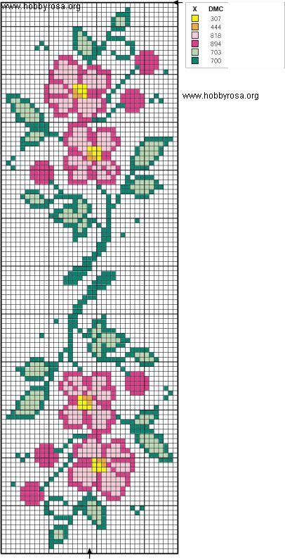 Ricamo a punto croce bordi fioriti hobby rosa for Bordi punto croce