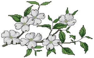 ricamo punto croce fiori di mandorlo