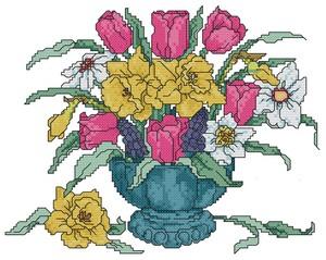 ricamo punto croce vaso di fiori